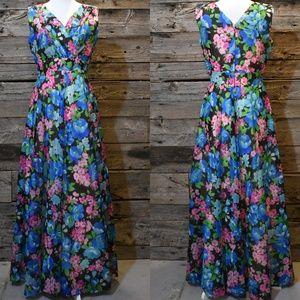 VTG Dark Floral Silk Maxi Wrap Front Dress M/L